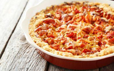 Torta di pane con pomodorini e formaggio